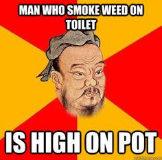 man who is high on toilet is high on pot