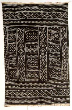 """Africa   Woman's wrapper ~ """"Bogolanfini"""" ~ from the Bamana people   20th century   Cotton and mud."""