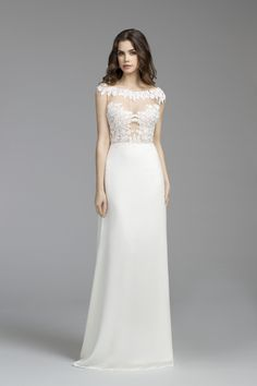 Bridal Gowns, Wedding dresses by Tara Keely Style 2652 - Ivory chiffon modified Aline gown, Venise lace bateau neckline, sheer appliqued bodice, low scooped back and chapel train.