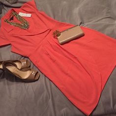Coral sheath dress sz 6 Beautiful coral color! Perfect for spring and summer! New with tags! Top is lined! Belt missing, but would be really cute with a scarf belt or any skinny belt! Size 6, runs true to size Dresses Midi