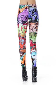 SEXY LADY GALAXY LEGGINGS PRINTED COSMIC SPACE PANTS TIE DYE TIGHTS NEW FASHION VINTAGE FASHION GRAFFITI SPRAY TEXT DIGITAL PRINTING SEXY LEGGINGS FOR WOMEN