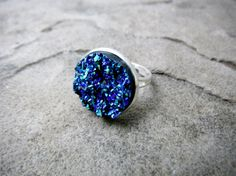 Titanium Blue Druzy Ring, Blue Cabochon Ring, Faux Druzy Ring, Blue Crystal Ring, Blue Gemstone Ring, Adjustable Ring, Druzy Jewelry $22.00 USD