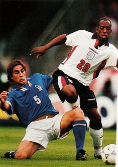4775e5c53 England 2 Italy 0 in June 1997 in Nantes. Fabio Cannavaro tackles Ian  Wright in