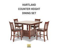 Style, versatility, and storage! The Hartland counter height dining set in solid Acacia has a luxuriously rich Chianti finish and modern sleek lines.