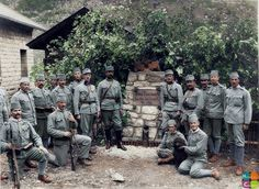 Bosnia-Herzegovina soldiers of the 1st Mountain Brigade of the 18th Infantry Division. They had undergone heavy fighting during the Third Battle of the Isonzo in October 1915.  They are seen here, resting in the Brigades cantonment site .  (Photo by courtesy of Ambrus Rainer).