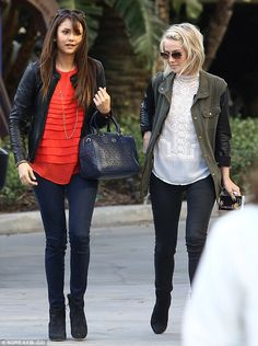 Julianne Hough at the Staples Center in Los Angeles with Nina Dobrev