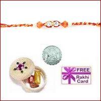 Blue Zardosi Family Rakhi Pair with Free Silver Coin