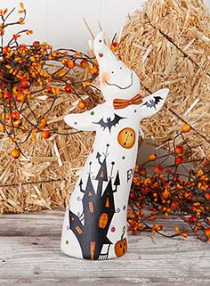 Haunted Ghostie! Adorable fall halloween decor. FREE Pattern Download www.artistsclub.com