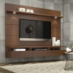 Best Pallet Projects Manhattan Comfort Cabrini Theater Floating Entertainment Center – The sleek, clutter-free Manhattan Comfort Cabrini Theater Entertainment Center transforms your living room in one fell swoop. Tv Unit Design, Tv Wall Design, Living Room Tv Unit, Living Room Decor, Living Rooms, Living Spaces, Tv Wanddekor, Floating Entertainment Center, Entertainment Stand