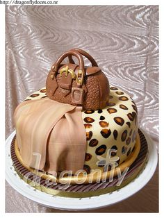 Prada Handbag And Leopard Skin Cake Purses Handbags Brown
