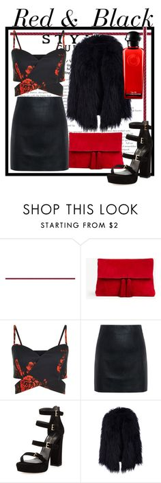 """""""Red & Black"""" by polyvoregirl-567 ❤ liked on Polyvore featuring Ann Taylor, McQ by Alexander McQueen, Stuart Weitzman and Hermès"""