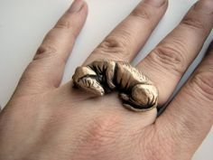{sleeping Dachshund two finger ring}