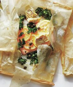 Kale, Lemon, Artichoke, and Caper Fish Packets
