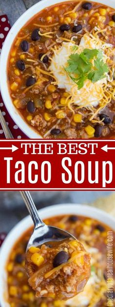 Taco Soup {WITH VIDEO!} Taco Soup {WITH VIDEO!} My all time favorite soup recipe that you are going to LOVE! Taco Soup is filled with all your taco favorites this one is a must try. Healthy Taco Soup, Easy Taco Soup, Healthy Tacos, Easy Soup Recipes, Crockpot Recipes, Healthy Recipes, Taco Soup With Chicken, Taco Soup Recipe Easy Crock Pot, Low Carb Taco Soup
