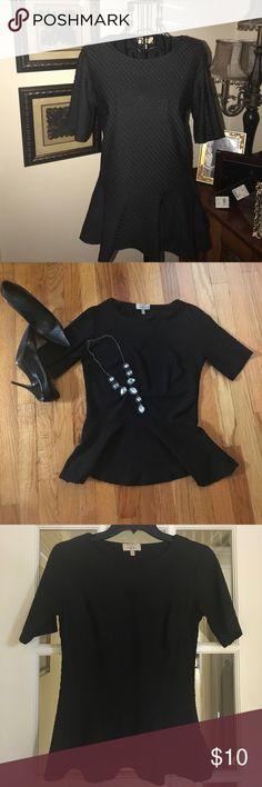"Zara Sz M Black Peplum Top Puffed jacquard pattern knit. Scoop neck, elbow sleeve peplum top. Gently worn. Zara ""trafaluc"" collection. Zara Tops Tees - Short Sleeve"