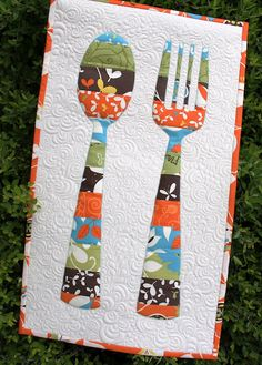 quilted retro fork-n-spoon set!