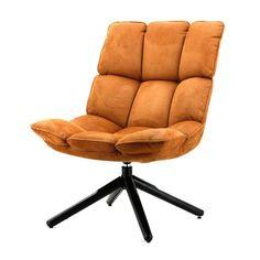 Fauteuil Daan Cognac. Prachtige draaibare fauteuil met comfortabele zitting.