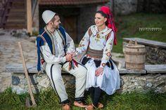 albanian couple wearing the albanian national costume. qift shqiptar me veshje tradicionale shqiptare te kulla e mazrekajv