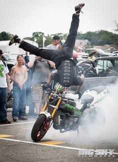 """K & N's Jamie Dungfelder doing his infamous """"Burnout Handstand"""" ."""