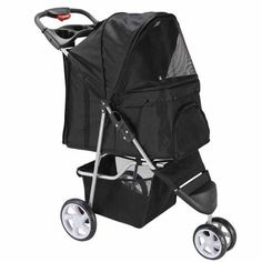 Oxgord 3 Wheeler Elite Jogger Pet Stroller Cat/Dog Easy Walk Folding Travel Carrier, Onyx Black -- Details can be found by clicking on the image. Go Jogging, Dog Stroller, Pet Gear, Cat Dog, Pet Safe, Pet Grooming, Way Of Life, Dog Supplies, Your Pet