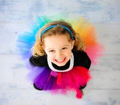 Rainbow Explosion Tutu - Preschooler Child Girls Teen - 16 Bright Colors - Satin Wrapped Waist - Photography Prop - Rainbow Birthday Party