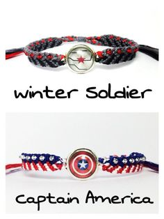 Captain America inspired Friendship Bracelets by WhiteMarbles59 I need this - visit to grab an unforgettable cool 3D Super Hero T-Shirt!