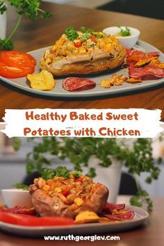 Baked Sweet Potatoes with chickpeas. #sweetpotato #recipe #healthyrecipe #healthyfood #healthychoices #tasty Diet Recipes, Healthy Recipes, Chocolate Coffee, Chickpeas, Different Recipes, Healthy Baking, Healthy Choices, Lunches, Sweet Potato