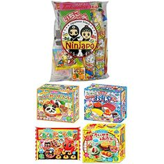 "Assortment of 4 Kracie Popin Cookin & Happy Kitchen kits & Japanese Snacks ""Dagashi"" Set Ninjapo Package Sweets Candy Kitchen Kit, Happy Kitchen, Japanese Snacks, Japanese Food, Image Link, Sweets, Candy, Note, Amazon"