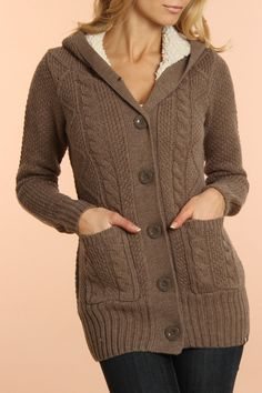 Miranda Hooded Cardigan In Brown.