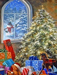 Christmas GIF - Christmas tree and snowing out the window. Christmas Craft Show, Christmas Scenes, Christmas Past, Christmas Images, Christmas Greetings, All Things Christmas, Winter Christmas, Christmas Lights, Vintage Christmas