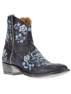 Women - Boots - Mexicana Embroidered Cowboy Boot - Feathers Fashion Online Store