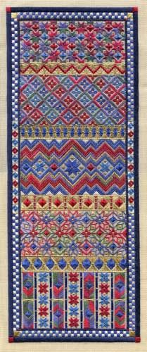 """New!  Three different colorways: Original Colors, Swedish Blues, and Christmas Colors  Exclusively created for Nordic Needle, by Laura J. Perin, this beautiful NORDIC PANEL is a 7.25"""" x 18.5"""" band sampler worked on 18 ct. mono canvas, that features classic Nordic patterns in a fresh counted canvaswork design.  Inspired by the complex patterns and traditional stars and diamonds found in Nordic sweaters, this fun piece uses simple stitches - straight, diagonal, checked, eyelet and cross ..."""