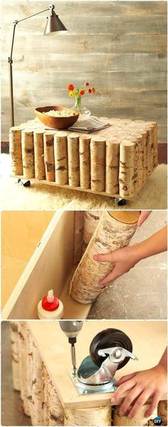 DIY Birch Tree Log Coffee Table Instructions - Raw Wood Logs and Stumps DIY Ideas Projects #coffeetables