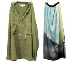 Satin Statement Pieces Silk Chain Blouse: Michael Kors Printed Silk Skirt: SET