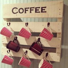 Porta Xícara Café Chá Estante Parede Madeira - R$ 130,00 no MercadoLivre