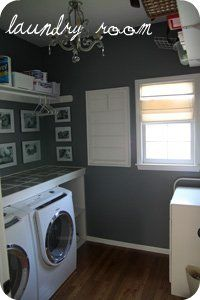 gorgeous laundry room counter tutorial, helpful for learning how to paint with tape patterns too!
