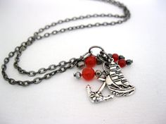 Pirate ship and anchor necklace with red ruby by LaylasTrinkets, $16.00