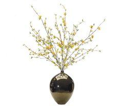 Forsythia (YF135): Forsythia, Yellow, Teardrop Bronze Glaze Vase, 34wx30dx45h
