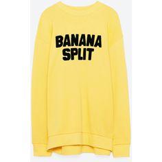 SWEATSHIRT WITH TEXT - SWEATSHIRTS-WOMAN | ZARA Serbia ($60) ❤ liked on Polyvore featuring tops, hoodies, sweatshirts, yellow top and yellow sweatshirts
