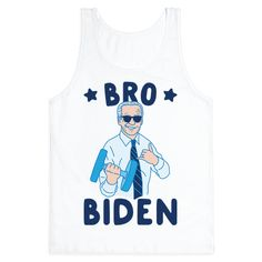 "Go to the gym in vice presidential style with this funny fitness design featuring the text ""Bro Biden"" with an illustration of a broey Joe Biden lifting weights! Perfect for a gym workout, lifting, fitness humor, a Joe Biden meme, bro jokes, and lovers of Joe Biden!"