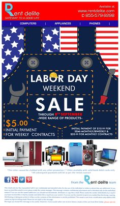 Great #LaborDaySale on RentDelite, Get a brand new #Computer, #Phones & more at just $5 as initial payment for weekly contracts