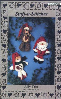 Free Us Ship Sewing Pattern Stuff-n-Stitches Jolly Tri Ornaments Santa Bear Snowman Little Christmas Dolls Uncut 1997 Designer Liz Hansen by LanetzLiving on Etsy
