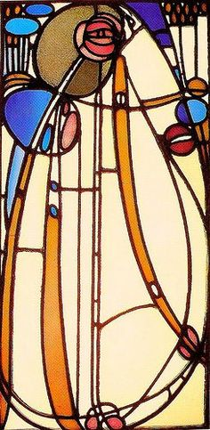 """One of the great qualities of the stained glass designs of Charles Rennie Mackintosh was his ability to effortlessly move from very geometric """"Mission Style"""" designs to free flowing """"Art Nouveau"""" styles. Sometimes at Scottish Stained Glass we have even combined both the geometric and the free flowing styles into a single design with some stunning results."""