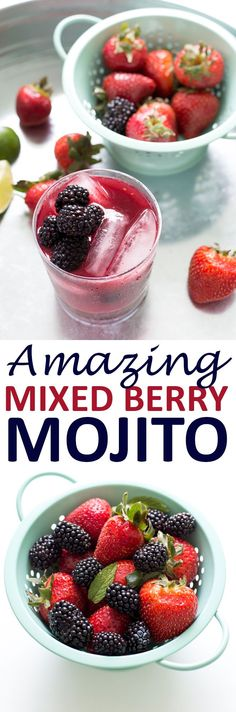Mixed Berry Mojito made with fresh blackberries, strawberries, mint, lime and rum. (via @chefsavvy)