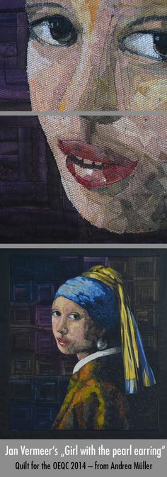 """My Quilt for the Open European Quilt Championship 2014. Theme: """"Old Masters"""" Jan Vermeer's: """"Girl with the pearl earring"""" Read more: http://blog.bernina.com/de/2014/10/wettbewerbsquilt-oeqc-2014-in-veldhoven/"""