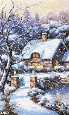 Christmas Scenery, Winter Scenery, Christmas Pictures, Christmas Art, Winter Christmas, Vintage Christmas, Google Christmas, Winter Snow, Desenho Tattoo