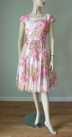 c536855973b0 1960s Addie Masters Floral Silk Chiffon Casual Dressy Dress / Pink Roses  Scarf Print / Fit