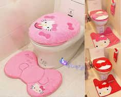 Hello Kitty Toilet Seat Cover Cushion And Rug Bathroom Mat Home Decor 3 Pcs Set in Home & Garden | eBay