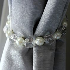 DIY pearl and crystal curtain tie back