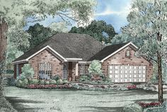 This charming three bedroom Ranch style home is perfect for today's family.   The great room and dining room are open, separated with 8 in columns for a spacious, elegant feel.  Ranch House Plan # 151039.